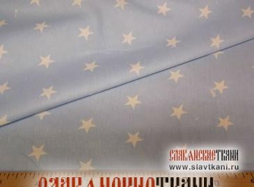 """Бязь, хлопок, рисунок """"белые звёзды на небесном"""", ширина 150 см"""