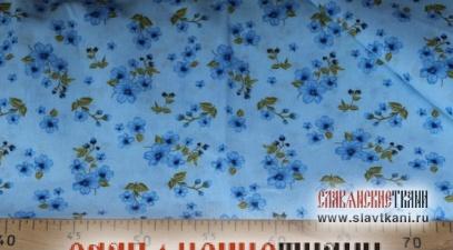 """Бязь, хлопок, рисунок """"синие цветы на голубом"""", ширина 150 см"""