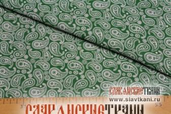 """Бязь, хлопок, рисунок """"восточный огурец, маленький, белый на зелёном"""", ширина 150 см"""
