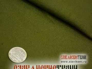 Хлопок, саржа, цвет хаки, зелёный, ширина 150 см