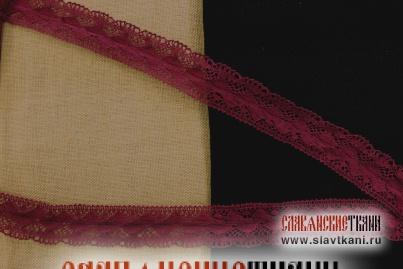 "Кружево из льна, цвет марсала, рисунок ""зигзаг"", ширина 35 мм"