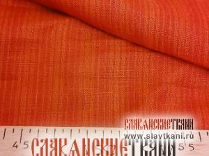 """лён, рисунок """"бордово-оранжевая полоска"""", ширина 150 см"""